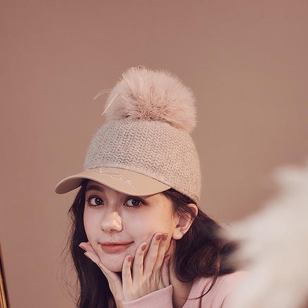 帽子 RCha。毛球刺繡皮質針織棒球報童帽-Ruby s 露比午茶