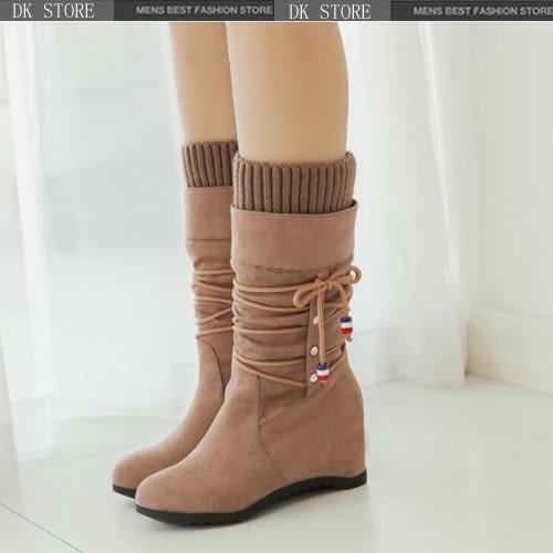 中筒靴 民族風 內增高個性百搭水鑽馬丁靴 超级商城DK STORE