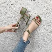 春夏季粗跟涼鞋女韓版中跟套趾一字綁帶露趾港味羅馬女鞋   歌莉婭