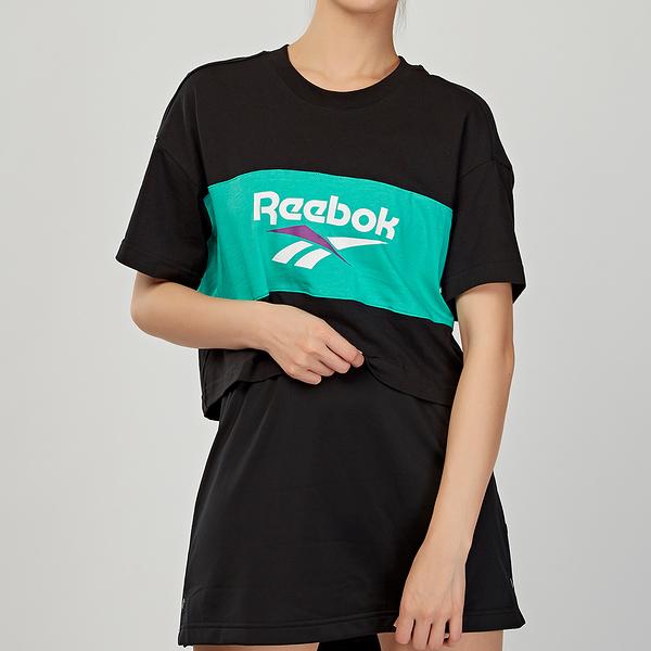 Reebok Classics Vector Crop Tee 女款 黑綠 休閒 短袖 DX3811