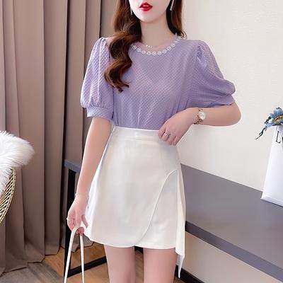 短袖套裝~7420#輕熟女御姐范炸街套裝釘珠泡泡袖上衣設計感不規則半裙H311-E胖妞衣櫥