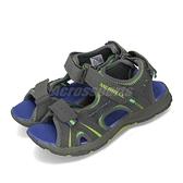 Merrell 涼拖鞋 Panther Sandal 灰 藍 休閒鞋 涼鞋 女鞋 大童鞋 中童鞋【ACS】 MC53337