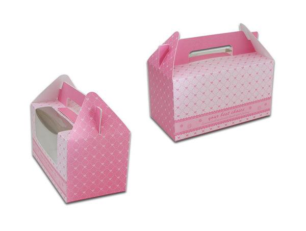 粉色 2格手提盒 杯子蛋糕盒CH02A1