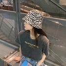 日系復古漁夫帽子女韓版夏季薄款遮陽防曬顯臉小斑馬紋水桶帽潮  【端午節特惠】