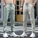 潮流長褲 夏季冰絲褲子男寬鬆直筒休閒褲超薄款空調夏褲速干長褲男士運動褲