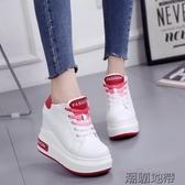 厚底內增高10cm女鞋秋鞋休閒系帶小白鞋運動鞋單鞋百搭鬆糕鞋