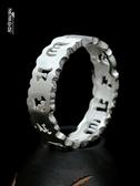 99純銀飾品梵文六字真言戒指開光大明咒心經新款尾戒女男情侶 3C數位