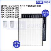 適用Hitachi日立RD-160HH RD-200HH RD-240HH RD-280HH RD-320HH RD-360HH空氣清淨除濕機脫臭+HEPA濾網