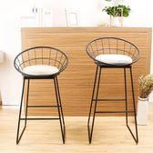 北歐鐵藝吧臺椅簡約現代高腳凳創意高椅美式吧臺凳椅子酒吧椅吧凳