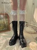 2雙裝 過膝蕾絲花邊襪長筒靴襪洛麗塔薄款少女甜美花邊襪【繁星小鎮】
