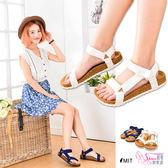 涼鞋.台灣製MIT 簡約輕便帆布休閒涼鞋.2色 白/藍【鞋鞋俱樂部】【015-245】