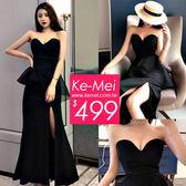克妹Ke-Mei【ZT52927】外貿單!爆款性感M型美胸荷葉開叉禮服洋裝