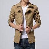薄款風衣 男青年修身型外套 韓版中長款夾克衫 男春秋大碼純棉上衣潮 降價兩天