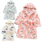 可愛印花連帽加厚絨毛綁帶睡袍浴袍 兒童睡袍 兒童睡衣 兒童浴袍