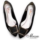 尖頭包鞋-Messa米莎 MIT迷人金屬方釦內真皮緞面尖頭鞋-黑色