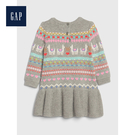 Gap女嬰兒柔軟羊駝幾何圖案針織洋裝517301-石楠灰