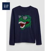 Gap男童圓領長袖套頭T恤525044-織錦海軍藍