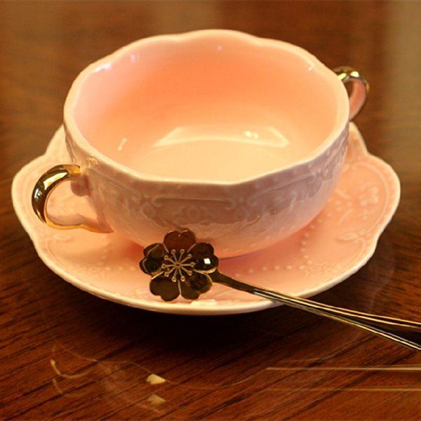 [超豐國際]公主粉色金邊雙耳碗歐式浮雕陶瓷 奶湯碗 雙耳碗