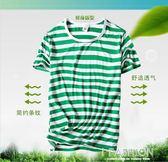 夏季男士韓版短袖t恤圓領條紋修身半袖簡約海魂服青年衣服體桖潮-Ifashion
