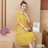 雪紡洋裝 夏季新款大尺碼連身裙洋氣減齡寬鬆文藝七分袖修身中長裙 EY6858『東京潮流』