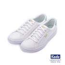 KEDS 帆布拼色綁帶休閒鞋 白綠 18...