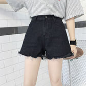 韓版高腰百搭牛仔短褲顯瘦闊腿褲毛邊黑色牛仔褲學生熱褲    琉璃美衣