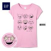 Gap女童 舒適休閒印花短袖T恤 229528-靚明粉