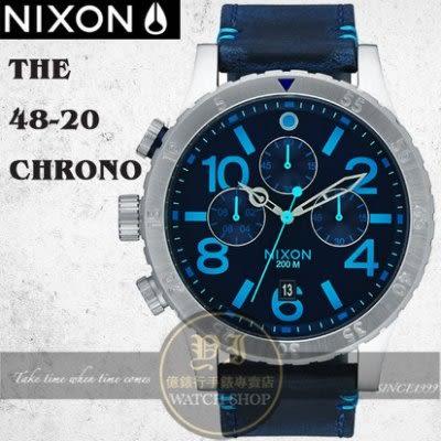 NIXON 實體店The 48-20 CHRONO LEATHER腕錶A363-2219公司貨//極限運動/禮物/情人節