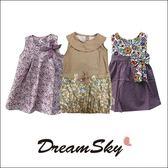 泰國兒童公主拼布點點綁帶蝴蝶結碎花洋裝女寶洋裝 DreamSky