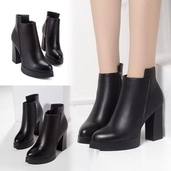 歐美百搭高跟短靴女粗跟英倫馬丁靴裸靴及踝靴秋冬高跟鞋 優樂居