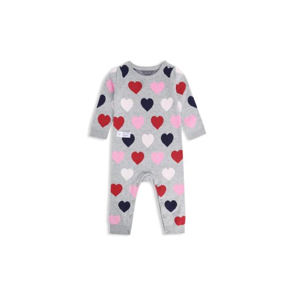 Gap女嬰活力愛心針織圓領連體衣525835-麻灰色