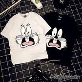 【現貨】T恤 可愛兔子印花情侶短t 黑色/M(X2162)★MagicMan★J