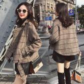 新品冬季格子針織毛呢外套女春秋季正韓學生百搭寬鬆短款女裝wy