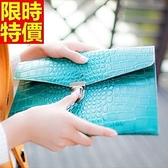 真皮手拿包-華麗色彩精緻走線鱷魚紋女信封包68k49【巴黎精品】