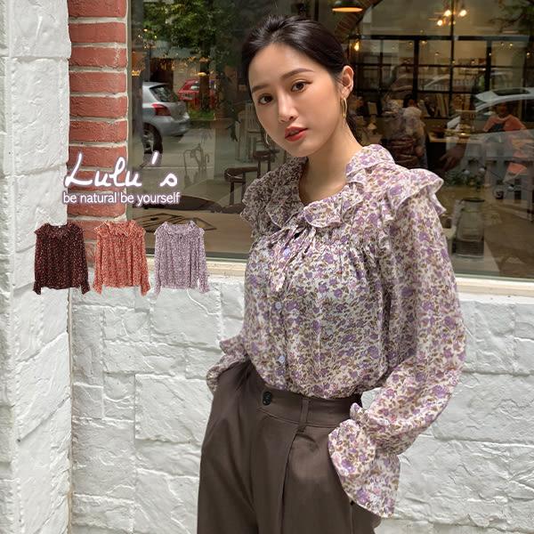 LULUS-M花朵荷葉綁帶縮袖襯衫-3色  【01190658】
