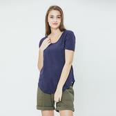 女裝Roots 素面短袖T恤 - 藍色