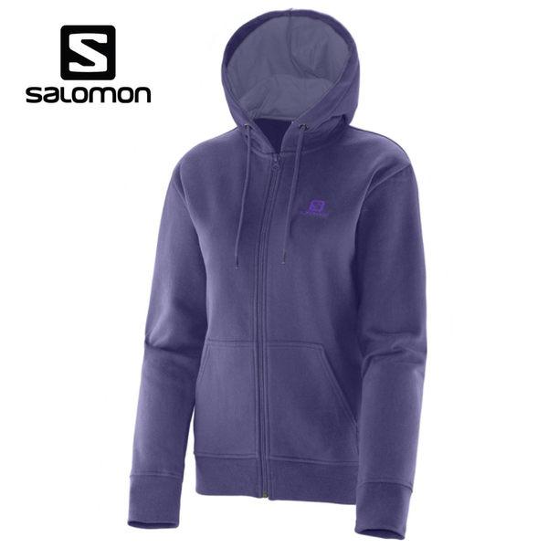 [法國Salomon] LOGO FZ HOODIE 女連身帽外套 - 353484 (紫羅蘭)