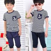 短袖套裝 海軍條紋上衣T恤+ 七分褲短褲 二件式AL1705 好娃娃