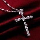 韓風鈦鋼鋯石十字架流行款項鍊(附60公分鈦鋼鏈)