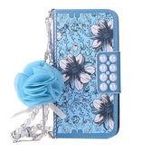 OPPO R15 R15 Pro 藍色雛菊系列 手機皮套 皮套 吊飾 插卡 內軟殼