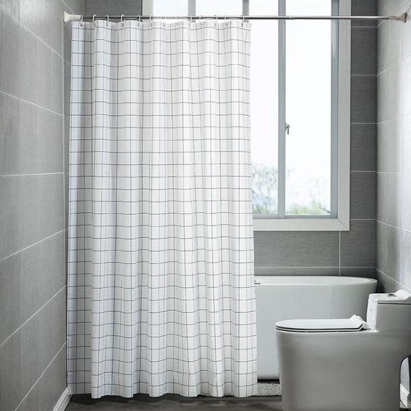 加厚浴簾套裝免打孔伸縮弧形浴簾桿隔斷簾子防水衛生間浴室掛簾布