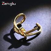 日韓打結開口戒指女鍍彩金色食指環戒子韓國簡約手飾品可調節大小  伊莎公主