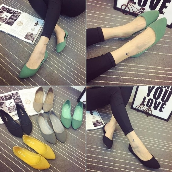 大尺碼女鞋小尺碼女鞋素面磨砂質感百搭尖頭舒適娃娃鞋綠色(31-48)現貨#七日旅行