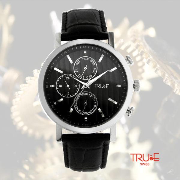 瑞士 TRUE 瑞時寶嘉  TS150274 帥氣三眼時尚腕錶 /44mm (黑)