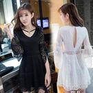 性感潮鏤空露背長袖顯瘦V領低胸蕾絲洋裝 韓語空間