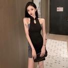 旗袍洋裝辣妹 改良旗袍假兩件連身裙 2021春夏季新款氣質包臀性感小個子短裙女裝