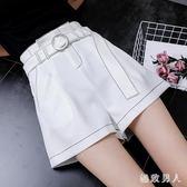休閒短褲女夏新款寬松顯瘦高腰闊腿短褲 XW1823【極致男人】