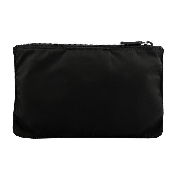 【PRADA】尼龍帆布扁形手拿/化妝包(黑色) 1NB400 067 F0002