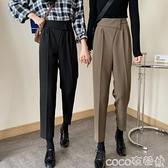 西裝寬褲 2021秋裝新款韓版復古顯瘦寬鬆高腰煙管九分褲子休閒西裝褲女 coco