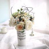 仿真玫瑰扶郎花束歐式酒店餐廳客廳臥室辦公桌裝飾品假花絹花擺件 ☸mousika